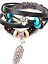 Fashion Feather And Beads 21cm Unisex Black Alloy Leather Bracelet(1 Pc)