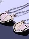 Personalizados Parejas regalo de la joyeria del acero inoxidable Grabado colgante collar de los amantes con 60cm Cadena