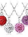 Gift For Girlfriend Classic (Sphere Rhinestone) Silver Plated Pendant Necklace(More Colors) (1 Pc)