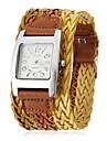 Women\'s Wide Knit Style PU Band Quartz Analog Wrist Watch (Assorted Colors)