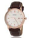 Men\'s Business Style Gold Case Calendar Leather Band Quartz Wrist Watch (Assorted Colors) Cool Watch Unique Watch