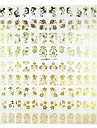 1PCS Mixed Flower Pattern Golden Metal Nail Art Stickers