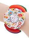 Women\'s Colorful Wood Case Elastic Band Quartz Bracelet Watch