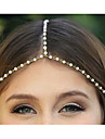 여자를위한 모조 진주 금 합금 머리띠 (1 개)를 가진 민족 체인