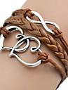 shixin® 유럽 심장 18cm 여성의 갈색 가죽 포장 팔찌 (1 개)