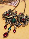 Vintage Double Peacocks Shape Silver Alloy Pendant Necklace (1 Pc)