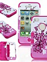 2 in 1 Peach Blossom  Robot Style PC and Sillcone Composite Case for iPhone 4/4S(Assorted Colors)