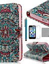 COCO FUN® Malachite Tribal Pattern PU Leather Full Body Case with Film, Stand and Stylus for iPhone 5/5S