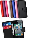 Card Holder Wallet PU Case for iPhone 4/4S (Assorted Colors)