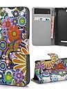 Colorful Flowers PU Leather Full Body Case Cover with Stand and Card Slot for Sony Xperia M C1905