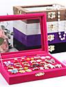 Коробки для бижутерии Жемчуг Фланелет Стекло Геометрической формы Розоватый Кофейный Черный Лиловый серый