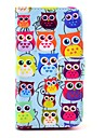 COCO FUN® Cute Colorful Owl Pattern PU Leather Full Body Case With Film, Stand And Stylus for iPhone 4/4S