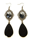 Vintage Water Drop Shape Black Gem Drop Earrings(1 Pair)