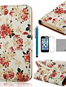COCO FUN® Rose White Pattern PU Leather Full Body Case with Film, Stand and Stylus for iPhone 5/5S