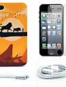 Lion Cartoon Pattern Hard Case and Screen Protector and Stylus and Cable for iPhone 4/4S