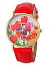Women\'s Vogue Tulip Pattern PU Band Quartz Wrist Watch (Assorted Colors)