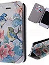 Beautiful Birds Pattern Leather Full Body Case with Card Slot for iPhone 4/4S