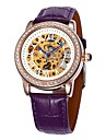 Women\'s Hollow Dial Diamond Gold Case Leather Band Auto-Mechanical Wrist Watch (Assorted Colors)