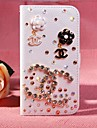 Diamond Flowers PU Leather Full Body Case with Stand and Card Slot for iPhone 5C