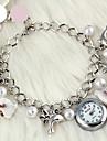 Damen Modeuhr Armband-Uhr Armbanduhr Quartz Legierung Band Weiss Rosa Marke