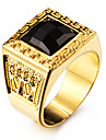 Men\'s Statement Rings Black Gemstone Love Personalized Costume Jewelry Stainless Steel Acrylic Gold Plated 18K gold Square Geometric