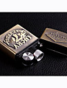 Electronic USB Rechargeable Wind-Proof Metal Gold Lighters Toys(Las Vegas Pattern)