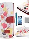 코코는 삼성 갤럭시 S4 미니 i9190를위한 스크린 protecter 및 스타일러스 복고풍 리프 패턴 PU 가죽 케이스를 fun®