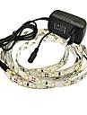 jiawen® 2.5m 10w 150x3528smd 6000-6500k hvite ledet fleksibel stripe lys + 2a makt (ac 110-240V)