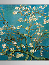 Canvas Print Almond Branches in Bloom San Remyc.1890 by Vincent Van Gogh Hand-Painted Ready to Hang