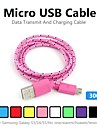 3m V8 Micro USB Tenacity Nylon Round Data Cable for Samsung and Other Phone (Assorted Colors)