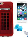 전화 부스 패턴은 아이폰 6 / 6S 용 스탠드와 보호 필름 소프트 케이스 TPU