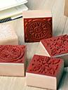 4 centimetros x 4cm do vintage quadrado romantico padrao de flor floral selo de madeira (padrao aleatorio