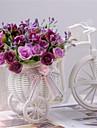 "8""H Modern Multicolor Roses in White Basket Bike"