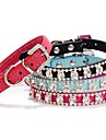 Adjustable Calico Rhinestone Decorated Pattern Collar for Pet Dogs(Random Colour)
