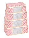 punto rosa visiable caja de almacenamiento de ropa plegables (pequeno 45x25x15 cm)