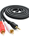 3m 9.84ft lyd 3,5 mm til 2 * rca m / m lydkabel