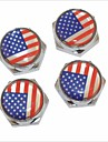 DIY American Flag Pattern Universal Metal License Plate Bolt Screw Caps for Car