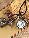 Unisex Vintage Bicycle-Shaped Round Dial Leather&Alloy Quartz Necklace /Keychain Watch Green Patina (1Pc)