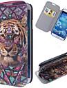 Pour Samsung Galaxy Coque Porte Carte / Avec Support / Clapet / Motif Coque Coque Integrale Coque Animal Cuir PU Samsung S4
