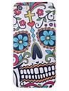 Flowers and Skulls Pattern PU Full Body Case with Card Slot for iPhone 5/5S