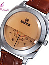 SKONE Heren Dress horloge Kwarts Japanse quartz Leer Band Wit Zwart Koffie