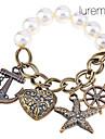 Lureme®Vintage Anchor Charm Pearl Elastic Bracelet