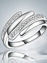 Fashion White Zircon Silver Statement Ring For Wedding For Women (1 pc)