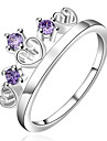 AAA Zircon Inlaid Copper Plating Fashion Purple Heart Crown 925 Silver Ring