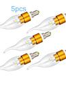 5 kpl E14 5W 1 SMD 450-500 lm lämmin valkoinen CA35 led kynttilän valot ac 220-240 v