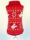 Gatos / Caes Sueters Vermelho Roupas para Caes Inverno / Primavera/Outono Floco de Neve Natal
