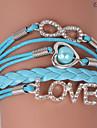 Eruner®Leather Bracelets Zircon Multilayer Alloy Love and Infinite Charms Handmade