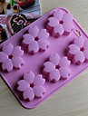 6 Hole Cherry Blossoms Shape Cake Ice Jelly Chocolate Molds,Silicone 15×14.5×1.5 CM(6.0×5.8×0.6 INCH)