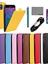 коко fun® твердый подлинный Флип кожаный чехол с пленкой и USB-кабель и стилус для Samsung Galaxy Примечание 4