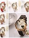 Mulheres Relógio de Moda Quartzo Couro Banda Brilhante Heart Shape Preta Branco Vermelho Marrom Dourada Rosa